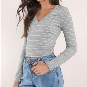 New Tobi Grey and White Striped Crop Top
